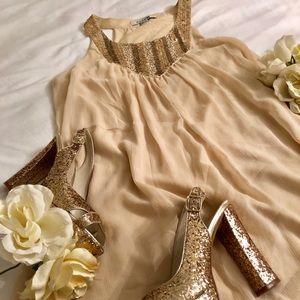 FRVR21 Nude Flowing Straight Dress w/ Sequin Bib